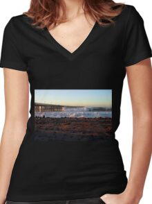 Ocean Wave Storm Pier Women's Fitted V-Neck T-Shirt