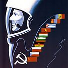 We're Making Space Peaceful Forever - Soviet Poster by warishellstore
