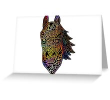 Colorful Intricate Horse Head Design Greeting Card