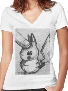 Pet pikachu Women's Fitted V-Neck T-Shirt