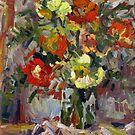 A Bouquet of Roses in a Square Vase by Stefan Boettcher