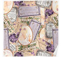 Vintage Labels in Purple + Peach Poster