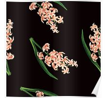 Peach Floral Toss in Black Poster