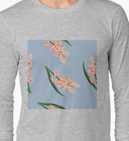 Peach Floral Toss in Pond Blue Long Sleeve T-Shirt