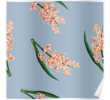 Peach Floral Toss in Pond Blue Poster