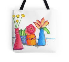 Colorful Bud Vases with Flowers Tote Bag