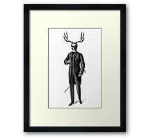 Victorian gentleman with skull and antlers Framed Print
