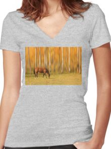 Mystic Autumn Grazing Horse Women's Fitted V-Neck T-Shirt