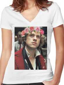 Enjolras with a Flower Crown Women's Fitted V-Neck T-Shirt