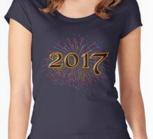 2017 New Years Eve Party Unique Blue Red Yellow and Green Fireworks Hoodies and T-Shirts Women's Fitted Scoop T-Shirt