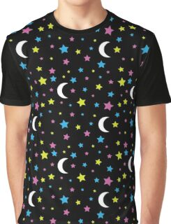 Starry Moon : Stars and Moon Print Design Graphic T-Shirt