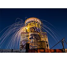 Raining fire at the water tower. Photographic Print