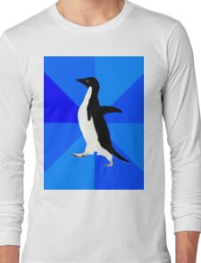 Socially Awkward Penguin MEME Long Sleeve T-Shirt