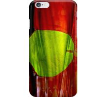 Green apple on red background iPhone Case/Skin