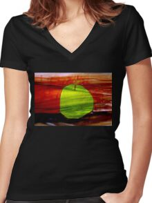 Green apple on red background Women's Fitted V-Neck T-Shirt