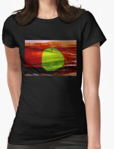 Green apple on red background Womens Fitted T-Shirt