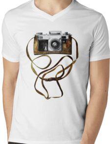 Watercolor vintage camera in leather case Mens V-Neck T-Shirt