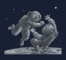 Astronaut Fistfight - Angry Space Men Fight On a Distant Moon or Planet, Far From Their Spaceship Kids Clothes