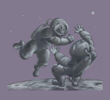 Astronaut Fistfight - Angry Space Men Fight On a Distant Moon or Planet, Far From Their Spaceship Kids Tee