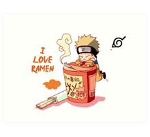 Naruto with Ramen Art Print