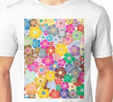 Multicolored Pastel Flowers Unisex T-Shirt