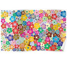 Multicolored Pastel Flowers Poster