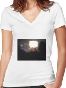 rave. Women's Fitted V-Neck T-Shirt