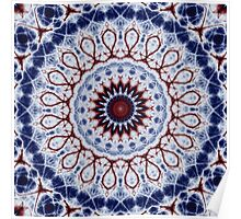 Mandala Fractal in Red White and Blue 01 Poster