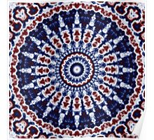 Mandala Fractal in Red White and Blue 02 Poster