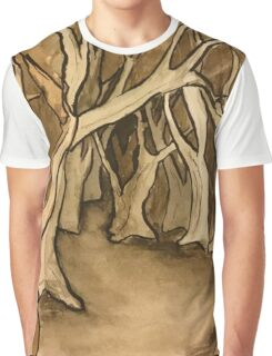 Negative Watercolor Forest Graphic T-Shirt
