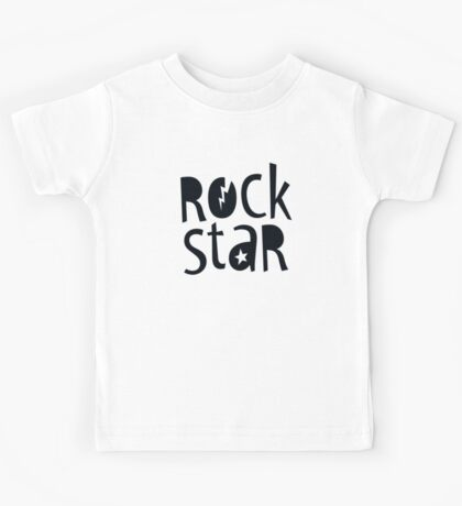 "MODERN POP TYPE bold black monochrome typography ""rockstar"""" Kids Tee"