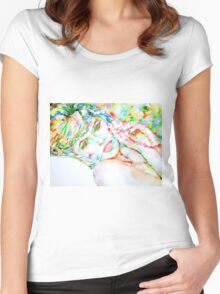 WATERCOLOR LADY Women's Fitted Scoop T-Shirt