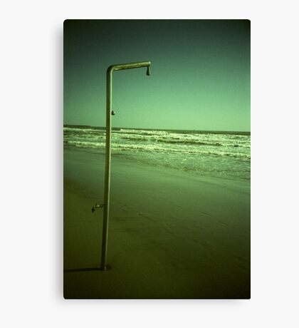 Beach shower in surreal green 35mm xpro cross processed lomographic film lomography analog photo Canvas Print