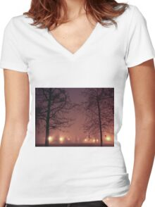 Twins in the fog Women's Fitted V-Neck T-Shirt