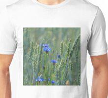 Cornflowers in a wheat field Unisex T-Shirt