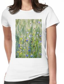 Cornflowers in a wheat field Womens Fitted T-Shirt