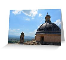 Assisi landscape seen from above near a roof with cupola Greeting Card