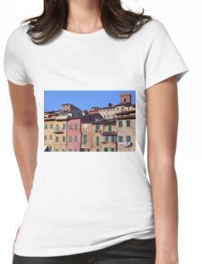 Italian colorful buildings with shutters in Siena Womens Fitted T-Shirt