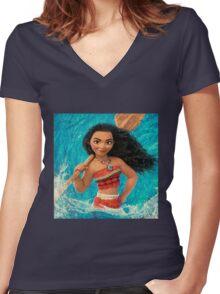 vaiana, maui,moana Women's Fitted V-Neck T-Shirt