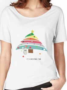 christmas time cat christmas tree decorating female t shirt gift  Women's Relaxed Fit T-Shirt