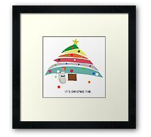 christmas time cat christmas tree decorating female t shirt gift  Framed Print