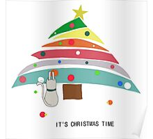 christmas time cat christmas tree decorating female t shirt gift  Poster