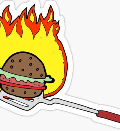 cartoon cooking burger Sticker