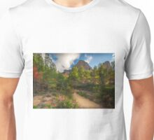 Pink flowers, trees and mountains Unisex T-Shirt