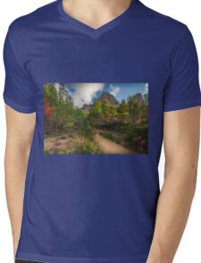 Pink flowers, trees and mountains Mens V-Neck T-Shirt