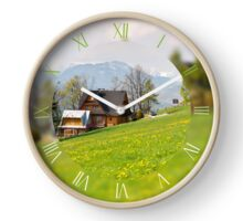 Bucolic mountains view Clock