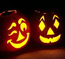 Pumpkin Pair, One Winking by Kenneth Keifer
