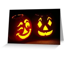 Pumpkin Pair, One Winking Greeting Card