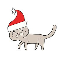 cartoon cat wearing christmas hat Photographic Print