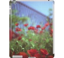 Poppies growing up fence in hot summer square Hasselblad medium format film analog photograph iPad Case/Skin